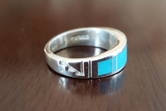 "Sleeping Beauty Turquoise ""Sun Up to Sun Down"" Navajo Handmade Ring"