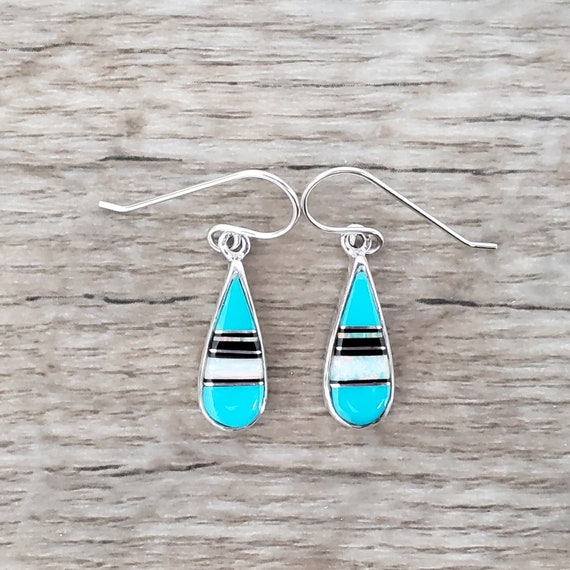Opal, AZ Blue Turquoise, and Sierra Black in Sterling Silver Drop Earrings
