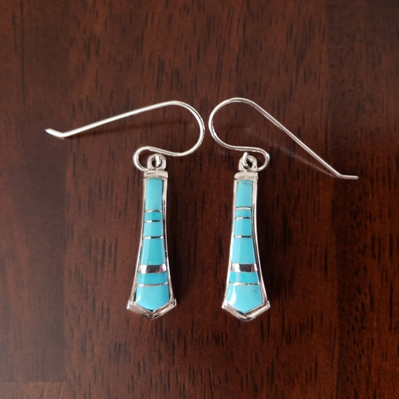 Sleeping Beauty Turquoise and Sterling Silver Earrings Navajo Handmade