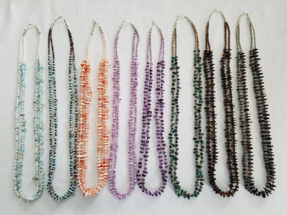 Double Strand Stone or Shell Necklaces
