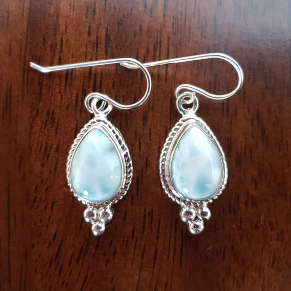 Larimar Stone in Sterling Silver Earrings Navajo Handmade
