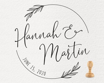 Wedding Stamp Personalized 25x60mm origami