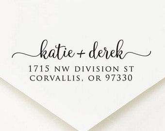 Return Address Stamp, Family Address Stamp, Modern Custom Rubber Stamp, Custom Address Stamp, Calligraphy Address Stamp, Save The Date
