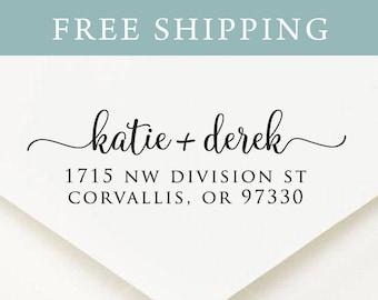 Custom Address Stamp, Self Ink Return Address Stamp, Personalized Address Stamp, Self Ink Custom Address Stamp, Calligraphy Waves (S5510)