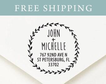 Custom Round Address Stamp, Self Inking Stamp, Monogram Stamp, Return Address Stamp, Personalized Stamp, Wedding Address Stamp (r34)
