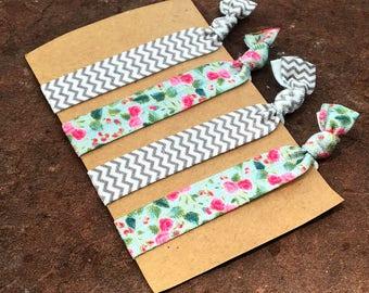 Hair Elastics, Hair Ties, Hair Ribbon, Hair Accessories, Floral Hair Elastics, Chevron Hair Elastics, Pink Floral Hair Ties, Cute Elastics