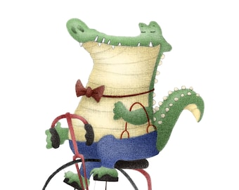 "8""x10"" Dapper Alligator Bicycle Crocodile 1920's Mixed Media Cute Kawaii Chibi Art Print Office Nursery Decor Illustration Children's Books"