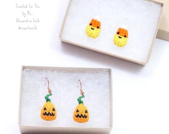 Miniature Crochet Kawaii Cute Seasonal Pumpkin or Candy Corn Halloween Holiday Earrings jewelry accessory Miniature Crochet Amigurumi