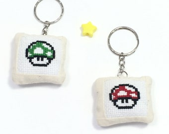 Super Mario Nintendo Mushroom Red Green Cross Stitch Kawaii Cute Keychain Accessory Pillow Keychain