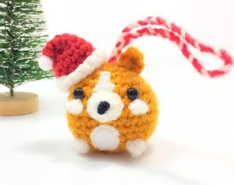 Crochet Amigurumi Cute Kawaii Corgi Dog Small Stuffed Animal Accessory Christmas Tree Ornament  Santa Hat Holiday Office Decor Handmade Gift