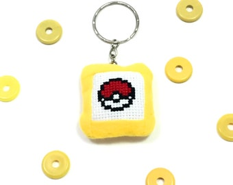 Pokeball Pokemon Yellow Cross Stitch Kawaii Cute Keychain Accessory Pillow Keychain