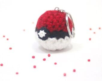 Tiny, Miniature, Crochet, Amigurumi, Cute, Kawaii, Handmade Pokemon Pokeball, Keychain, Fanart