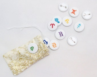 "1"" Cross-Stitch Handmade Zodiac Buttons brooch pin accessory astrology astrological handsewn"