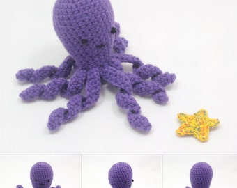 Purply Amigurumi Octopus with Clothing Accessories and a Starfish