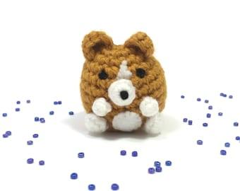 Crochet Amigurumi Cute Kawaii Corgi Dog Small Stuffed Animal Accessory Keychain Christmas Ornament