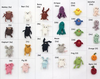 Create Your Own Miniature Crochet Amigurumi Critter Magnet Set of Six Miniature Crochet Magnets Miniature Crochet Animals Crochet Keychain
