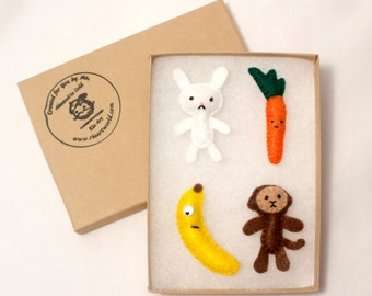 Miniature Handmade Felt Bunny and Monkey with their Favorite Food Magnet Keychain Small Plushie Pin Brooch Button Set