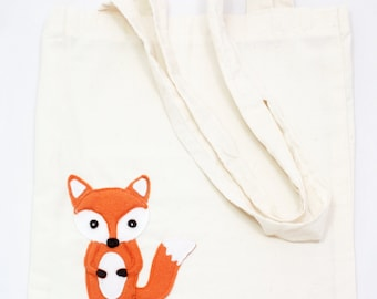 Handmade Fox Applique Cotton Bag