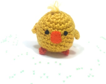 Crochet Amigurumi Cute Kawaii Yellow Duck Bird Small Stuffed Animals Accessory Keychain Christmas Ornament