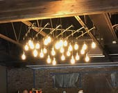 30 Light Square Industrial Steel Pipe Chandelier (56 quot x 56 quot )