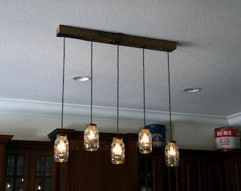 Mason jar chandelier etsy 5 light diy mason jar chandelier kitchen lighting rustic lighting mason jars dining lighting candelabra socket e12 aloadofball Gallery