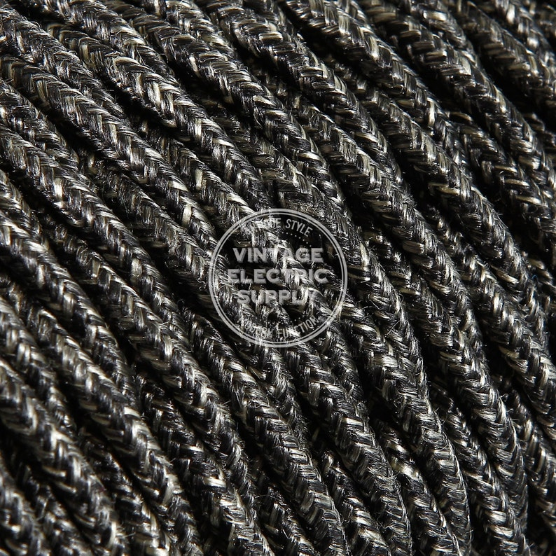 Swell Black Linen Twisted Cloth Covered Wire Vintage Lamp Cord Etsy Wiring Digital Resources Remcakbiperorg