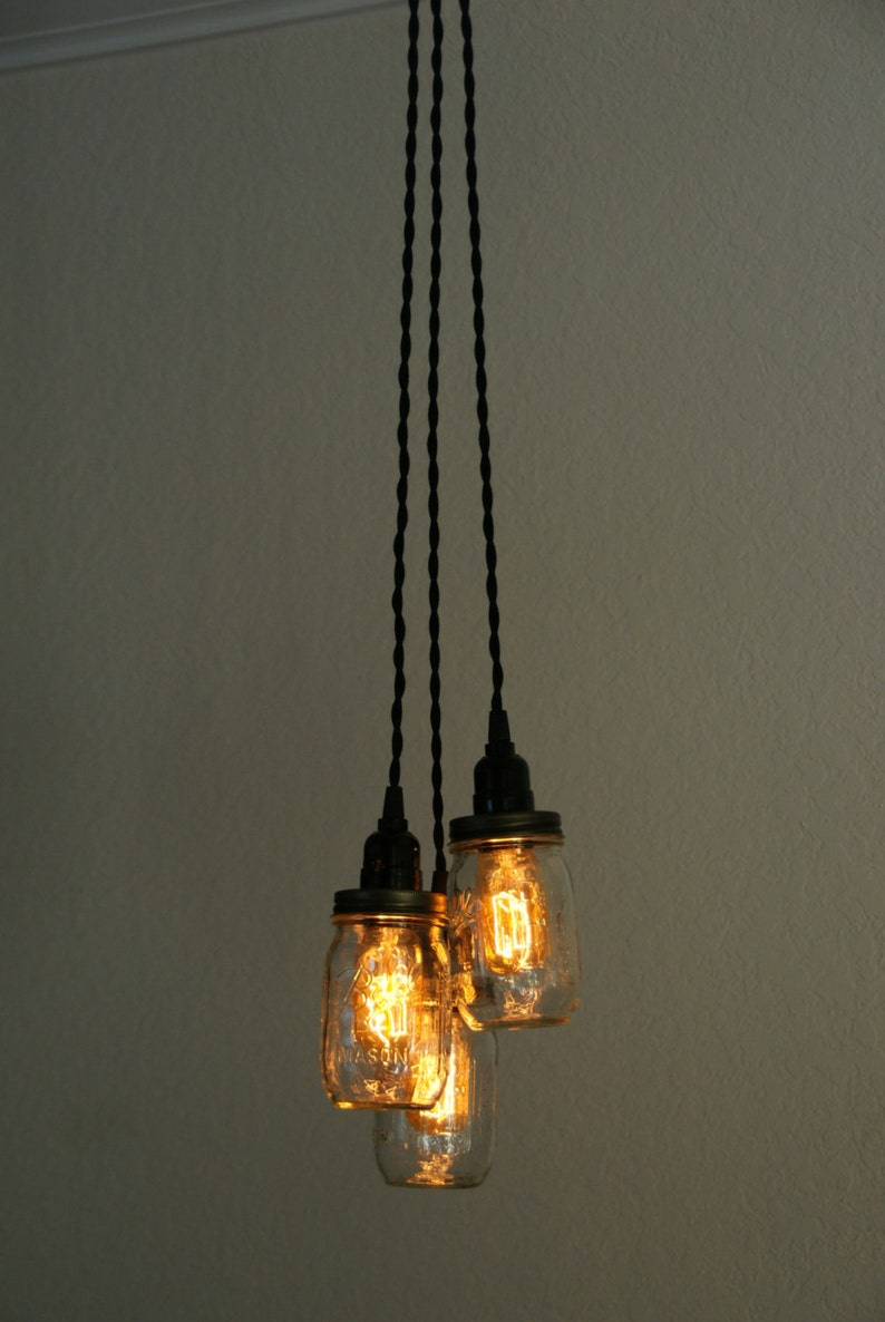 3 Light Mason Jar Chandelier Clear Pint Etsy