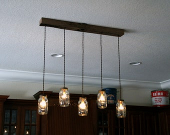 5 Light DIY Mason Jar Chandelier   Kitchen Lighting   Rustic Lighting   Mason  Jars