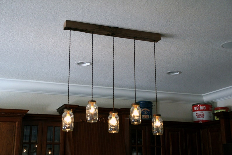 5 Light Diy Mason Jar Chandelier Kitchen Lighting Rustic Etsy