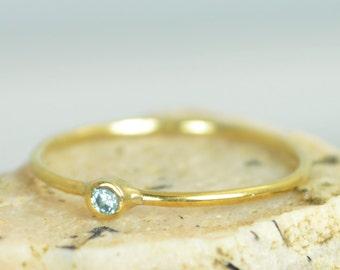 Tiny Aquamarine Ring, Solid 14k Gold Aquamarine Stacking Ring, Solid Gold Aquamarine Ring, Mothers Ring, March Birthstone, Aquamarine Ring
