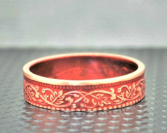 Red Wreath Coin Ring, India-British Coin, Red Ring, Coin Ring, Bronze Ring, Unique BoHo Ring, Dainty Ring, Womens Coin Ring, 8th anniversary