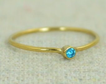 Tiny Blue Zircon Ring, Gold Filled Blue Zircon Ring, Zircon Stacking Ring, Zircon Mothers Ring, December Birthstone, Gold Filled Zircon Ring