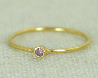 Tiny Alexandrite Ring, Alexandrite Stacking Ring, Gold Filled Alexandrite Ring, Alexandrite Mothers Ring, June Birthstone, Gold Filled Ring