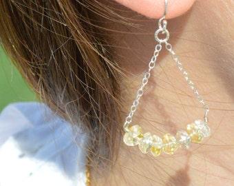 Citrine Earrings, Delicate Earrings, Gold Earrings, Sterling Earrings, Rose Earrings, Copper, Dangle Earrings, Gemstone, Yellow Earring