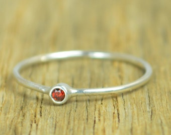 Tiny Garnet Ring, Garnet Stacking Ring, Sterling Garnet Ring, Garnet Mothers Ring, January Birthstone, Garnet Rings, Tiny Silver Ring