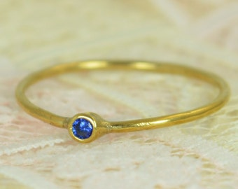 Tiny Sapphire Ring Set, Solid 14k Gold Wedding Set, Stacking Ring, Solid 14k Gold Sapphire Ring, September Birthstone, Bridal Set, Gold