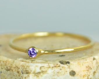 Tiny Amethyst Ring, Solid 14k Gold Amethyst Stacking Ring, Amethyst Ring, Amethyst Mothers Ring, February Birthstone, Amethyst Rings