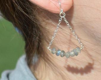 Labradorite Earrings, Delicate Earrings, Gold Earring, Sterling Earrings, Rose Earrings, Copper, Dangle Earrings, Gemstone, Gray Earring
