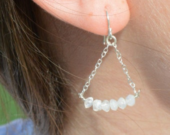 Moonstone Earrings, Delicate Earrings, Gold Earrings, Sterling Earrings, Rose Earrings, Copper, Dangle Earrings, Gemstone, White Earring
