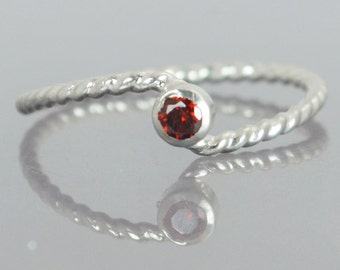 Wave Ring, Silver Wave Ring, Garnet Mothers Ring, January Birthstone,  Silver Twist Ring, Unique Mother's Ring, Garnet Ring, Sterling Silver