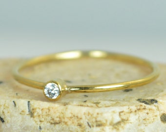 Tiny CZ Diamond Ring,  Solid Gold Diamond Stacking Ring, Solid 14k Gold Diamond Ring, Diamond Mothers Ring, April Birthstone, Diamond Ring
