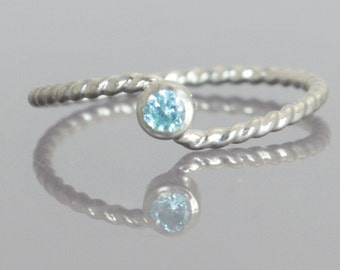 Wave Ring, Silver Wave Ring, Aquamarine Mothers Ring, March Birthstone, Silver Twist Ring, Unique Mother's Ring, Aquamarine Ring, March