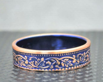 Blue Wreath Coin Ring, India-British Coin, Blue Ring, Coin Ring, Bronze Ring,Unique BoHo Ring,Dainty Ring,Women's Coin Ring,8th Anniversary