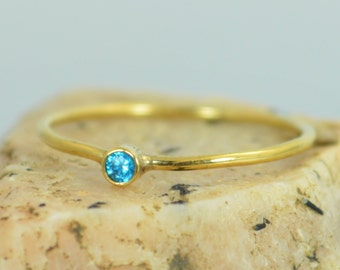 Tiny Blue Zircon Ring, Solid Gold Ring, Dainty Ring, Dainty Zircon, Mother's Ring, Stacking Ring, Tiny Gold Ring, Minimal Zircon, Alari