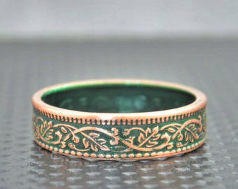 Green Wreath Coin Ring, India-British Coin, Green Ring, Coin Ring, Bronze Ring,Unique BoHo Ring,Dainty Ring,Womens Coin Ring,8th anniversary