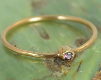 Tiny Alexandrite Ring, Alexandrite Stacking Ring, Solid 14k Rose Gold Alexandrite Ring, Alexandrite Mothers Ring, June Birthstone, Gold Ring