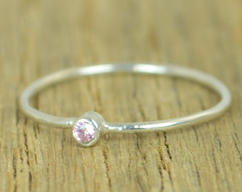Tiny Pink Tourmaline Ring, Silver Tourmaline Ring, Pink Tourmaline  Stacking Ring, Pink Mothers Ring, October Birthstone, Tourmaline Ring