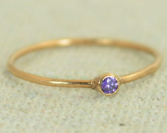 Tiny Amethyst Ring, Rose Gold Filled Amethyst Stacking Ring, Amethyst Ring, Amethyst Mothers Ring, February Birthstone, Amethyst Rings