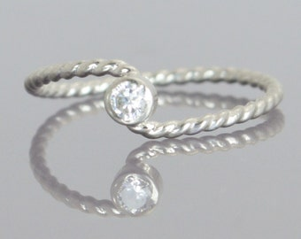 Wave Ring, Silver Wave Ring, CZ Diamond Mothers Ring, April Birthstone Ring, Silver Twist Ring, Unique Mother's Ring, Diamond Ring, April