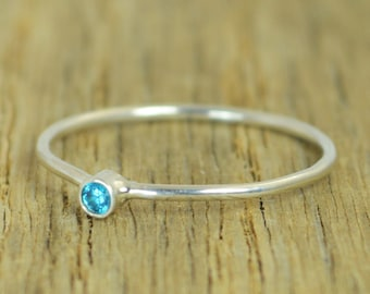 Tiny Blue Zircon Ring, Silver Zircon Ring, Zircon Stacking Ring, Zircon Mothers Ring, December Birthstone, Zircon Ring, Dainty Zircon Ring